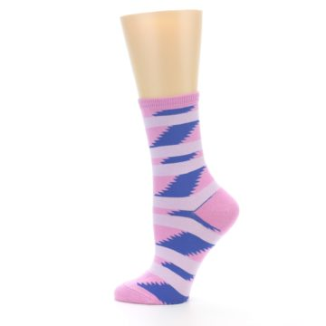 Image of Pink Blue Stripe Pattern Women's Dress Socks (side-2-12)