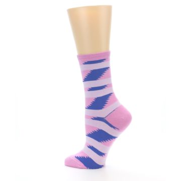 Image of Pink Blue Stripe Pattern Women's Dress Socks (side-2-13)
