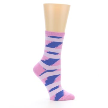 Image of Pink Blue Stripe Pattern Women's Dress Socks (side-1-25)