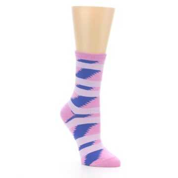 Image of Pink Blue Stripe Pattern Women's Dress Socks (side-1-27)