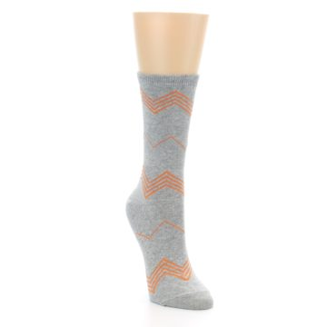 Image of Grey Orange Chevron Stripe Women's Dress Socks (side-1-front-02)