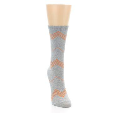 Image of Grey Orange Chevron Stripe Women's Dress Socks (side-1-front-03)