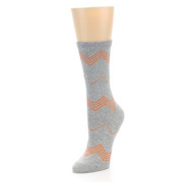 Image of Grey Orange Chevron Stripe Women's Dress Socks (side-2-front-08)