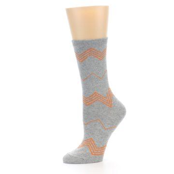 Image of Grey Orange Chevron Stripe Women's Dress Socks (side-2-10)