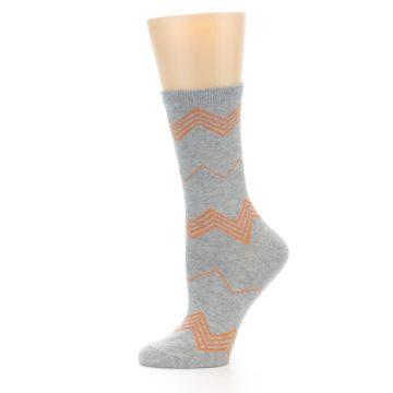 Image of Grey Orange Chevron Stripe Women's Dress Socks (side-2-11)