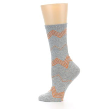 Image of Grey Orange Chevron Stripe Women's Dress Socks (side-2-12)