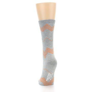 Image of Grey Orange Chevron Stripe Women's Dress Socks (back-17)