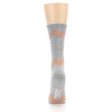 Image of Grey Orange Chevron Stripe Women's Dress Socks (back-18)