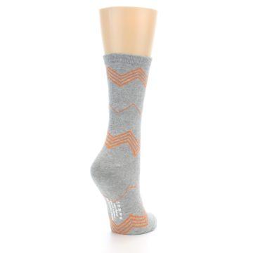 Image of Grey Orange Chevron Stripe Women's Dress Socks (side-1-back-21)