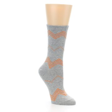 Image of Grey Orange Chevron Stripe Women's Dress Socks (side-1-27)