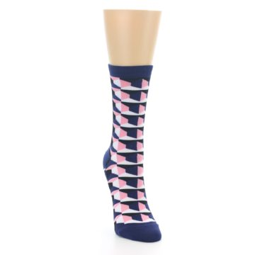 Image of Navy Pink Optical Pattern Women's Dress Socks (side-1-front-03)