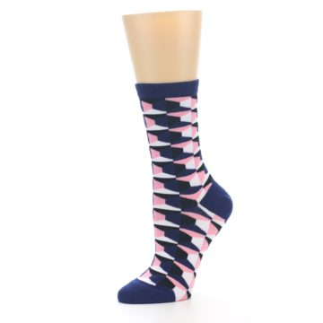 Image of Navy Pink Optical Pattern Women's Dress Socks (side-2-10)