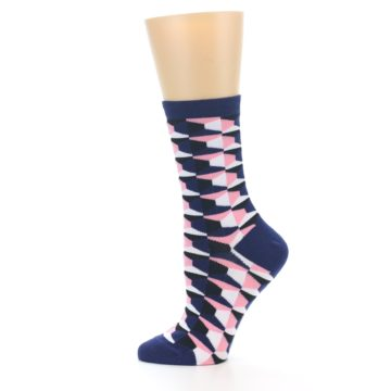 Image of Navy Pink Optical Pattern Women's Dress Socks (side-2-12)