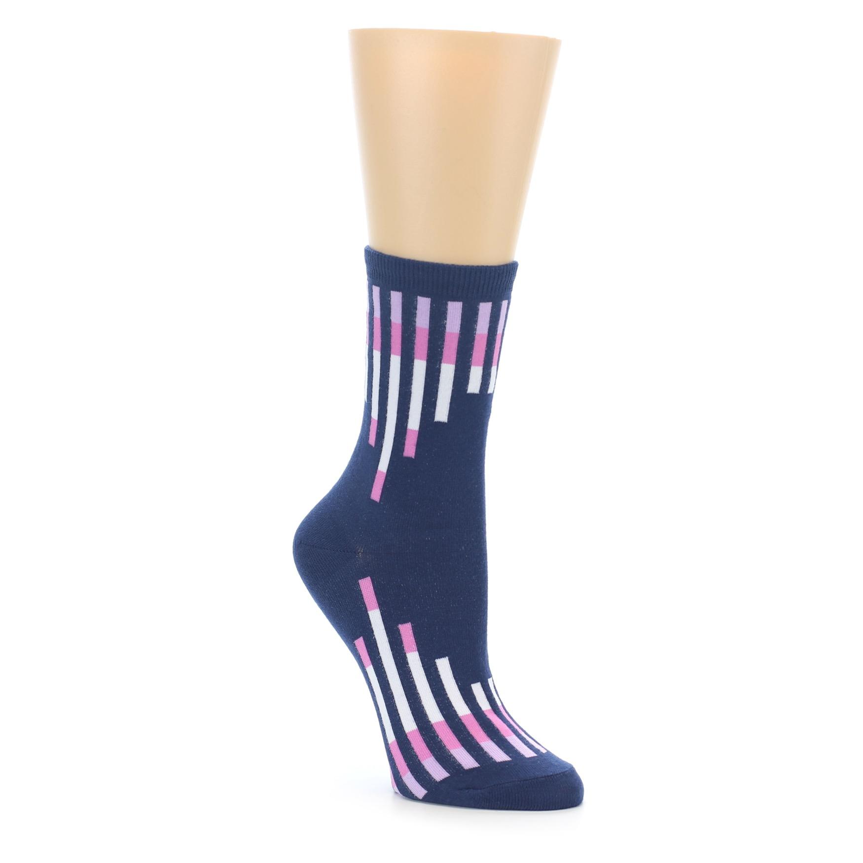 6d59ceb838893 Navy Pink Vertical Stripes Women's Dress Socks | boldSOCKS