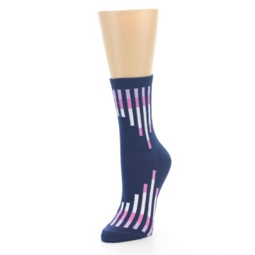 Image of Navy Pink Vertical Stripes Women's Dress Socks (side-2-front-08)