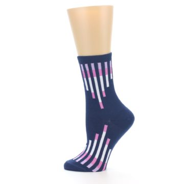 Image of Navy Pink Vertical Stripes Women's Dress Socks (side-2-12)