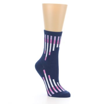 Image of Navy Pink Vertical Stripes Women's Dress Socks (side-1-27)