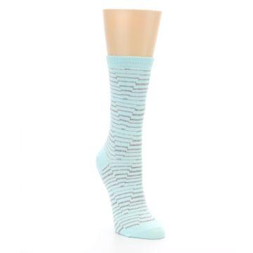 Image of Mint Grey Stripe Women's Dress Socks (side-1-front-02)
