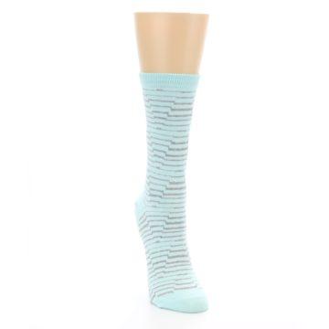 Image of Mint Grey Stripe Women's Dress Socks (side-1-front-03)