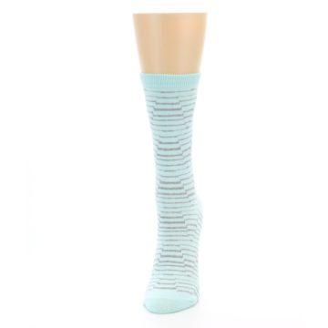 Image of Mint Grey Stripe Women's Dress Socks (side-2-front-06)
