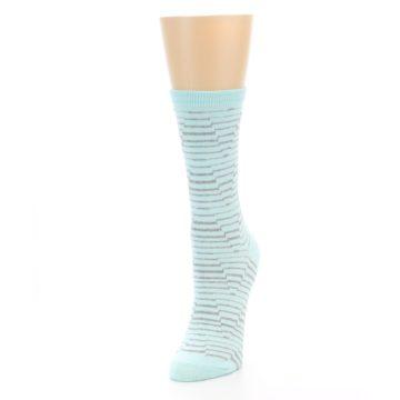 Image of Mint Grey Stripe Women's Dress Socks (side-2-front-07)