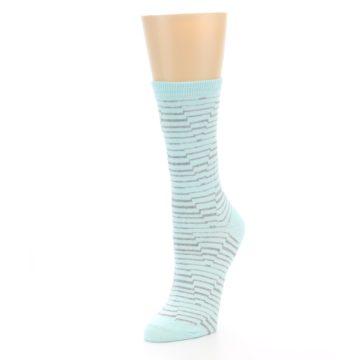 Image of Mint Grey Stripe Women's Dress Socks (side-2-front-08)