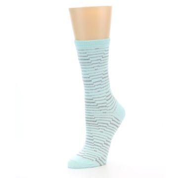 Image of Mint Grey Stripe Women's Dress Socks (side-2-09)