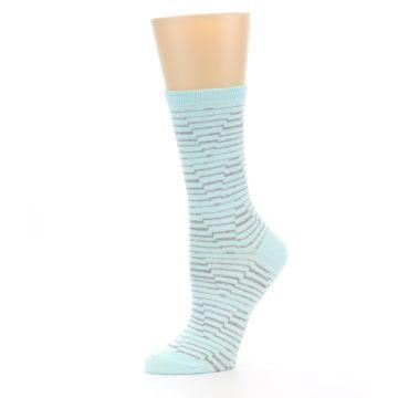 Image of Mint Grey Stripe Women's Dress Socks (side-2-10)