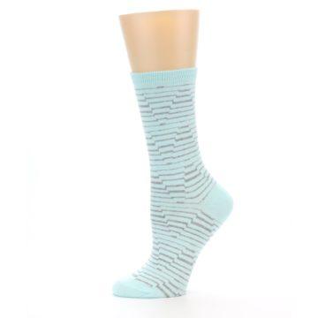 Image of Mint Grey Stripe Women's Dress Socks (side-2-11)