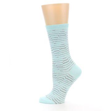 Image of Mint Grey Stripe Women's Dress Socks (side-2-12)