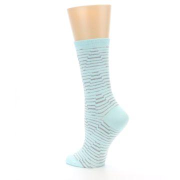 Image of Mint Grey Stripe Women's Dress Socks (side-2-back-14)