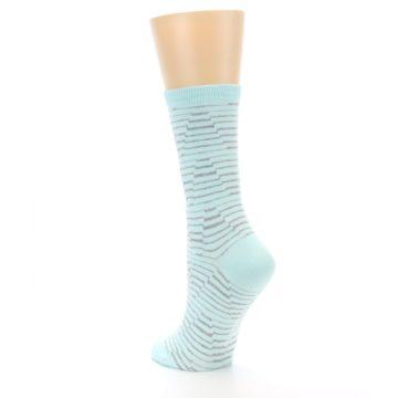 Image of Mint Grey Stripe Women's Dress Socks (side-2-back-15)