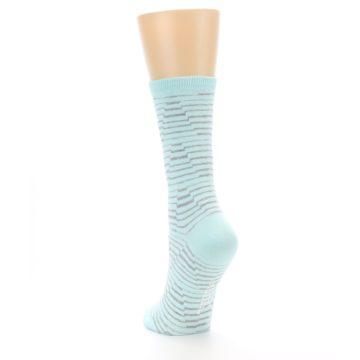Image of Mint Grey Stripe Women's Dress Socks (side-2-back-16)