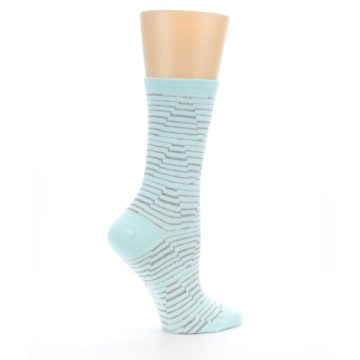 Image of Mint Grey Stripe Women's Dress Socks (side-1-24)
