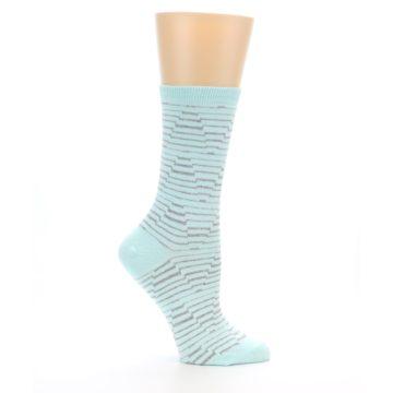 Image of Mint Grey Stripe Women's Dress Socks (side-1-25)