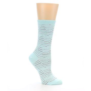Image of Mint Grey Stripe Women's Dress Socks (side-1-26)