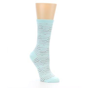 Image of Mint Grey Stripe Women's Dress Socks (side-1-27)