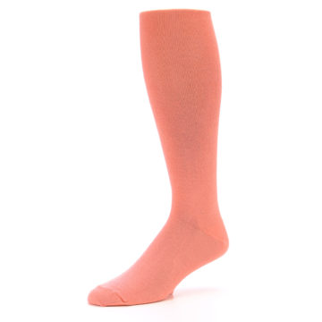 Image of Coral Solid Men's Over-the-Calf Dress Socks (side-2-09)