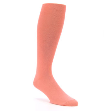 Image of Coral Solid Men's Over-the-Calf Dress Socks (side-1-27)