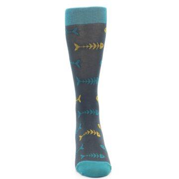Image of Grey Teal Yellow Fish Bones Men's Dress Socks (front-04)