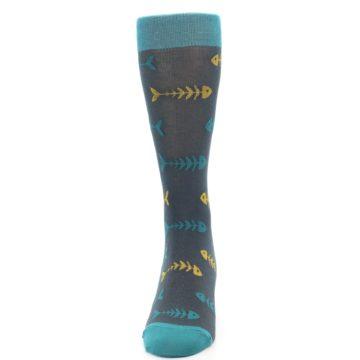 Image of Grey Teal Yellow Fish Bones Men's Dress Socks (front-05)