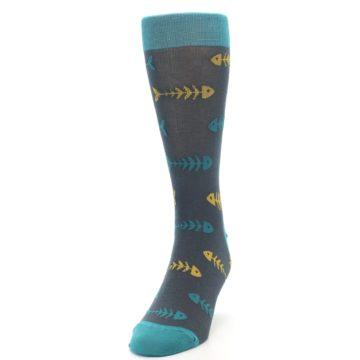 Image of Grey Teal Yellow Fish Bones Men's Dress Socks (side-2-front-06)