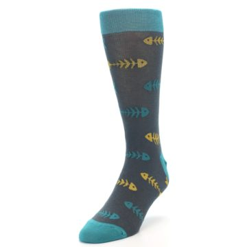 Image of Grey Teal Yellow Fish Bones Men's Dress Socks (side-2-front-07)