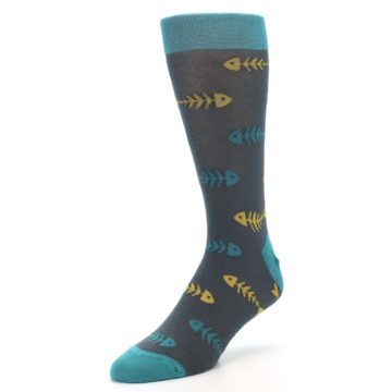 Image of Grey Teal Yellow Fish Bones Men's Dress Socks (side-2-front-08)