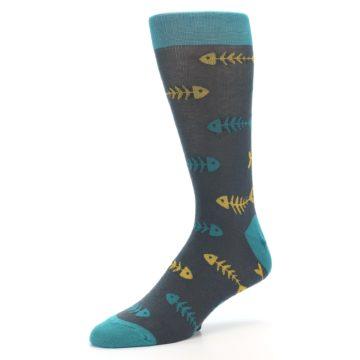 Image of Grey Teal Yellow Fish Bones Men's Dress Socks (side-2-09)