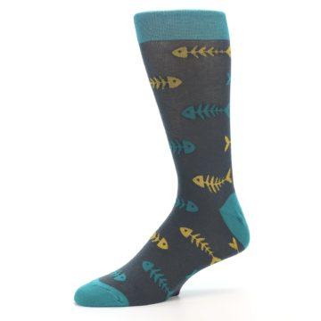 Image of Grey Teal Yellow Fish Bones Men's Dress Socks (side-2-10)
