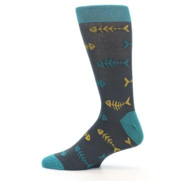 Image of Grey Teal Yellow Fish Bones Men's Dress Socks (side-2-12)