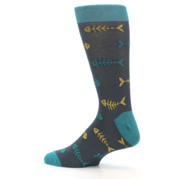 Image of Grey Teal Yellow Fish Bones Men's Dress Socks (side-2-13)
