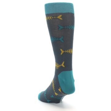 Image of Grey Teal Yellow Fish Bones Men's Dress Socks (side-2-back-16)