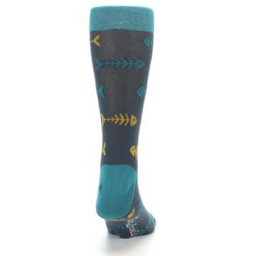 Image of Grey Teal Yellow Fish Bones Men's Dress Socks (back-19)